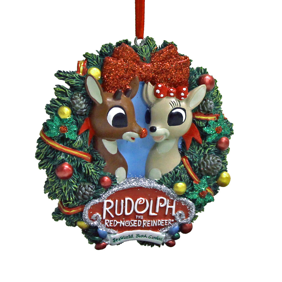 SeaWorld & Busch Gardens Rudolph Wreath Ornament