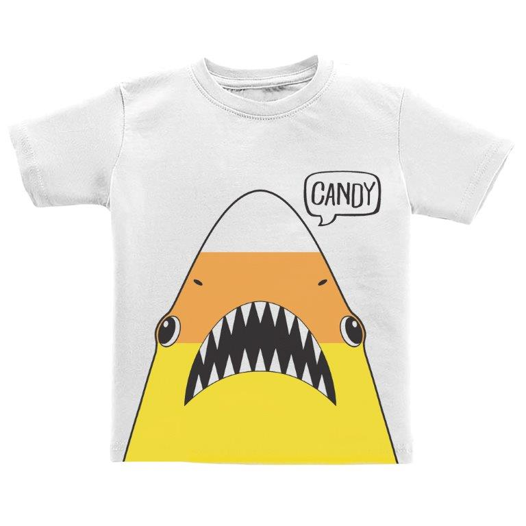 Halloween Candy Corn Shark White Toddler Tee
