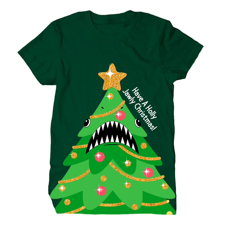 Christmas Tree Shark Green Adult Tee