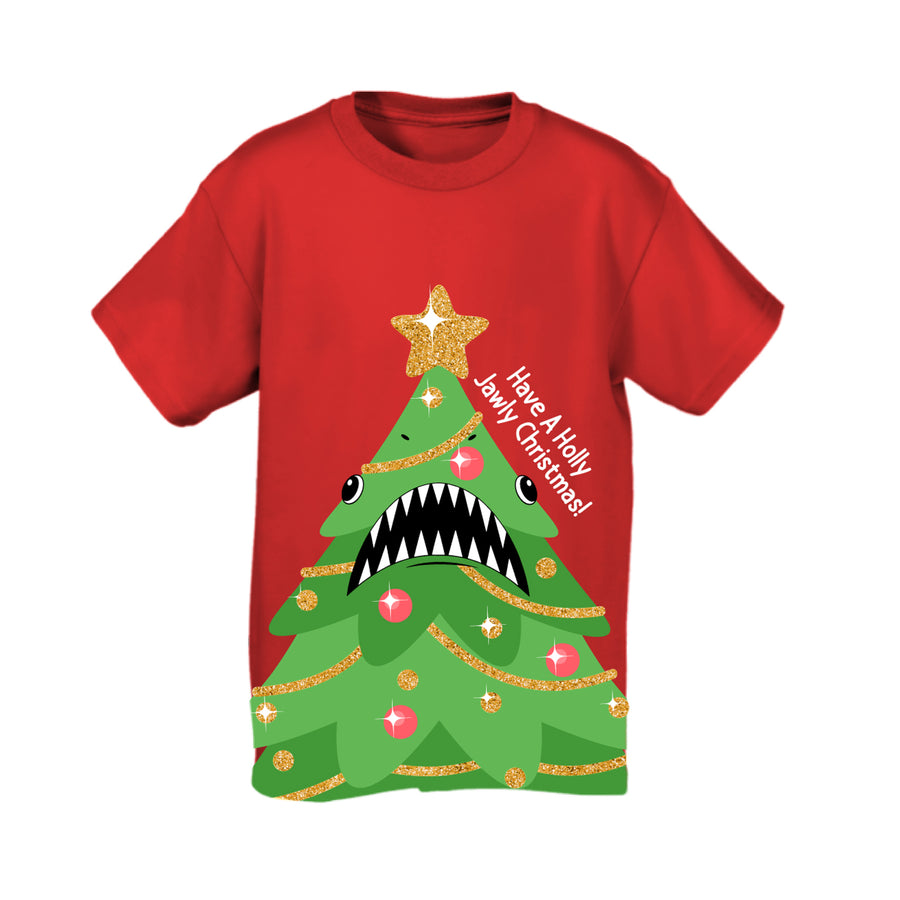 Christmas Tree Shark Red Youth Tee