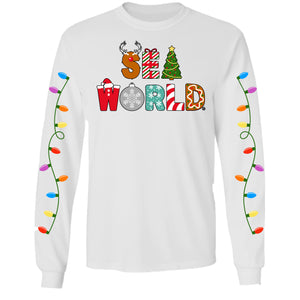 SeaWorld Christmas Letter White Adult Long Sleeve Tee