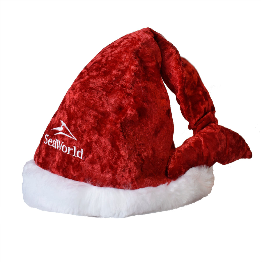 SeaWorld Whale Tail Red Santa Hat Velour