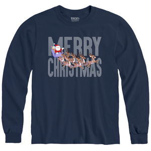 Rudolph the Red-Nosed Reindeer® Merry Christmas Navy Adult Long Sleeve Tee