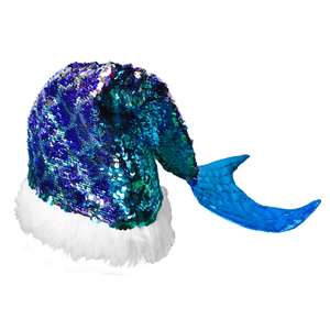 Flip Sequin Mermaid Tail Santa Hat - Adult
