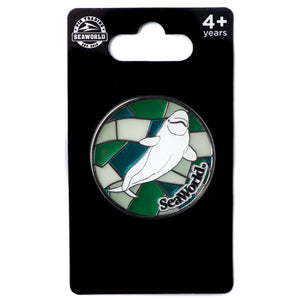 Stained Glass Beluga Whale Pin