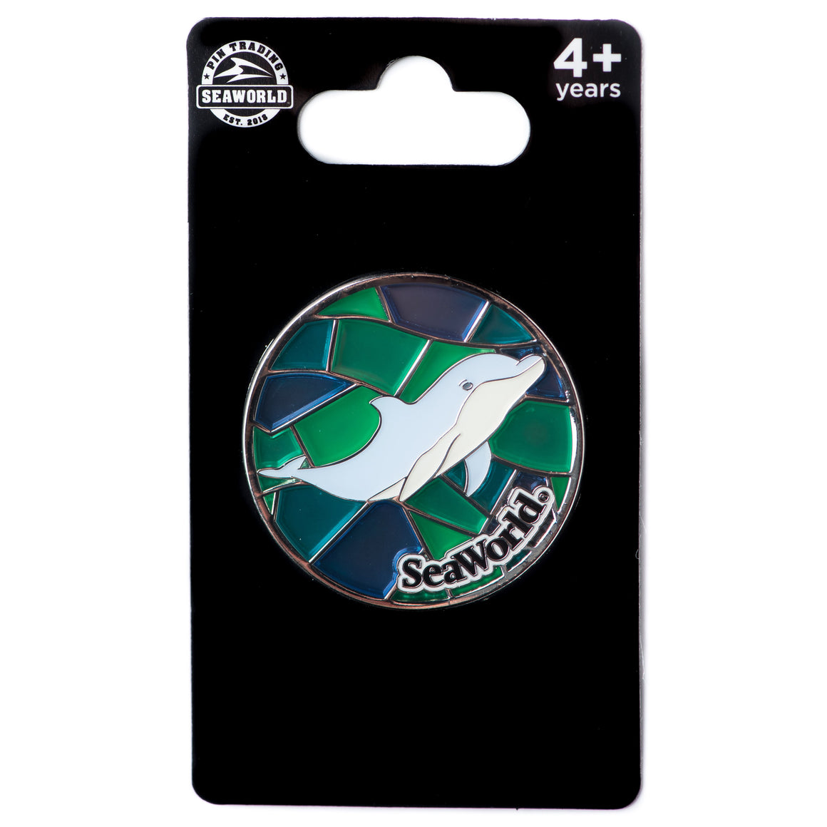 Stained Glass Dolphin Pin