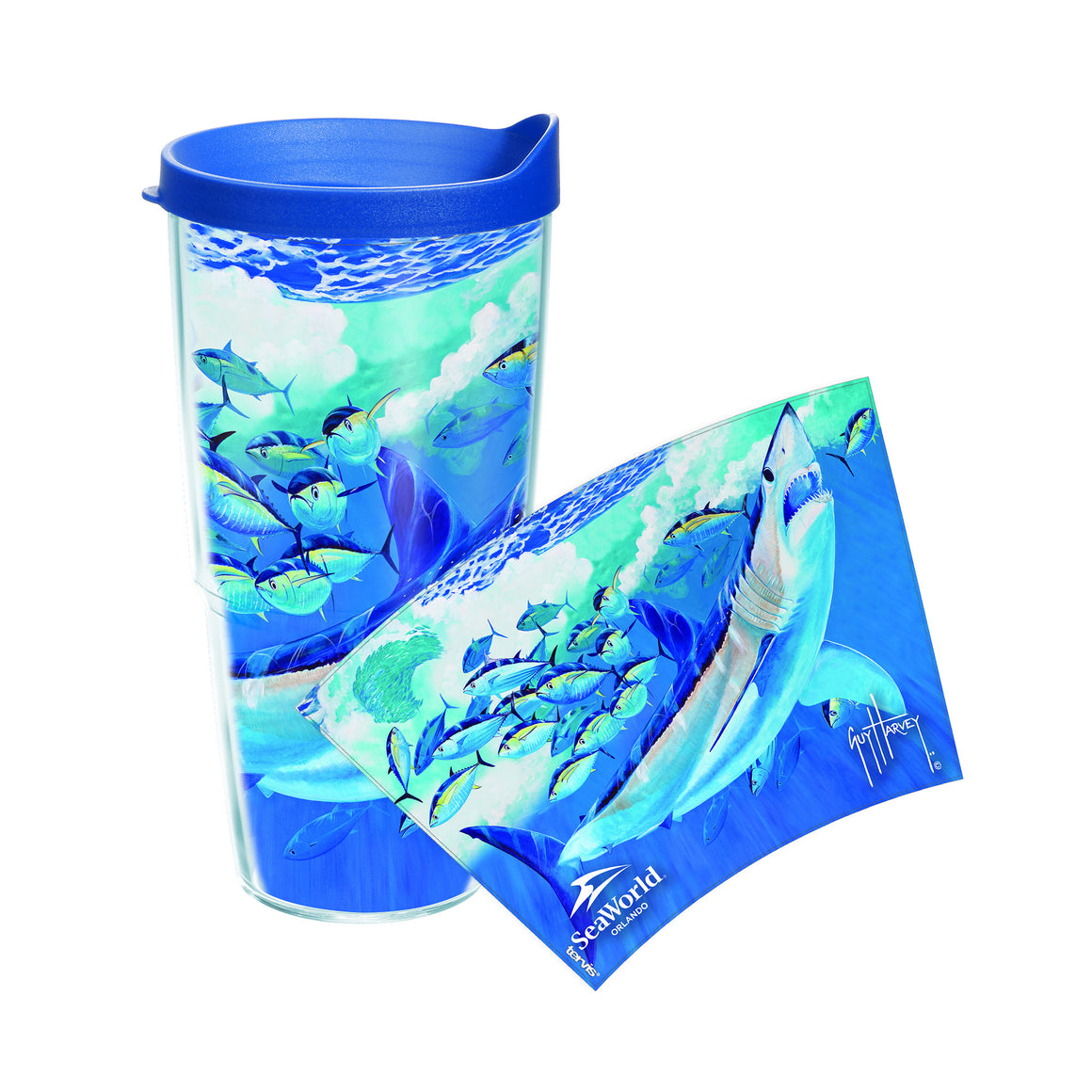 SeaWorld Exclusive Guy Harvey Mako and Tuna Tervis Tumbler