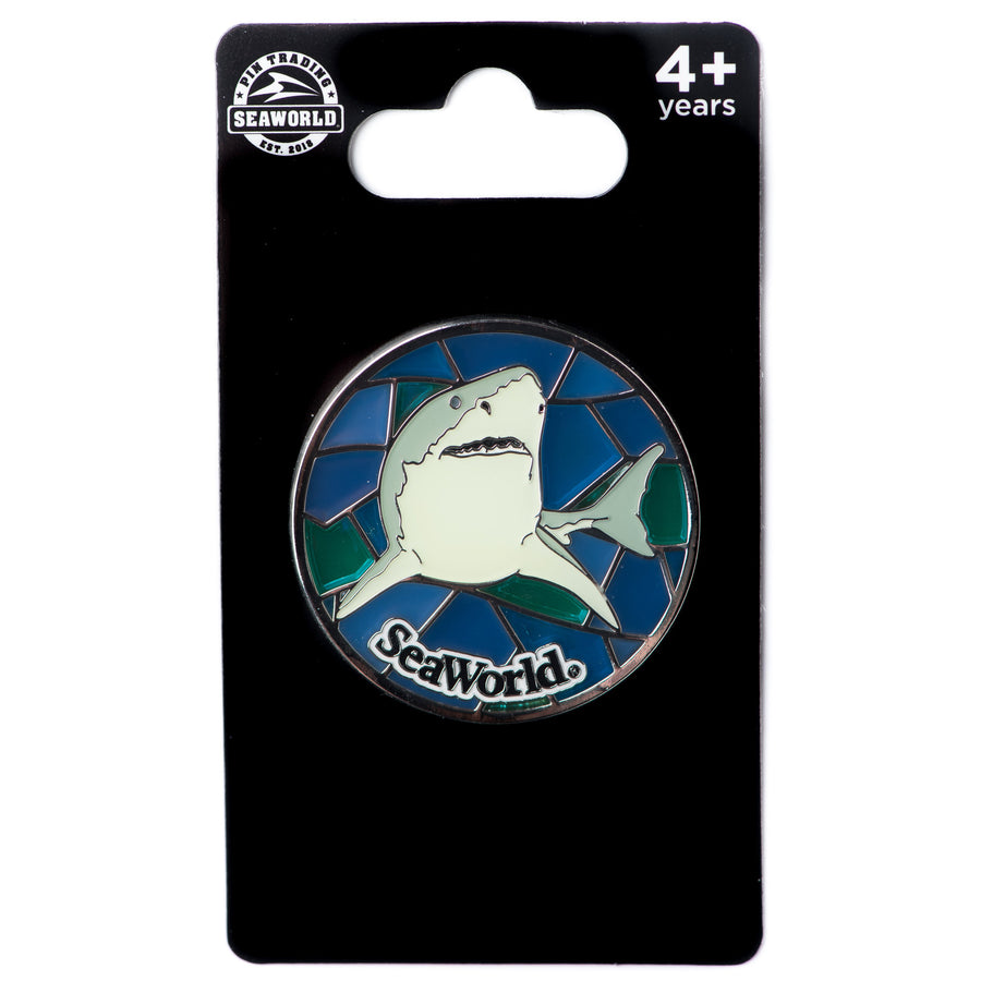 Stained Glass Shark Pin