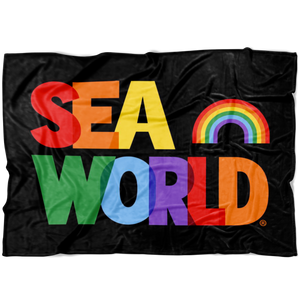 SeaWorld Rainbow Text Blanket