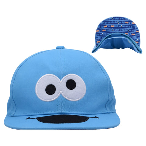 Cookie Monster Big Face Flat Brim Youth Baseball Cap