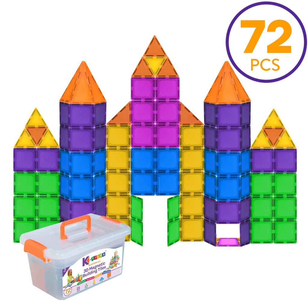 K-TILES® Magnetic Building Tiles for Kids (72 Pieces) - Colorful Tiles, Strong Magnets, Educational Toys for Children, Creativity, Imagination, Cognitive Development & Motor Skills for Girls & Boys