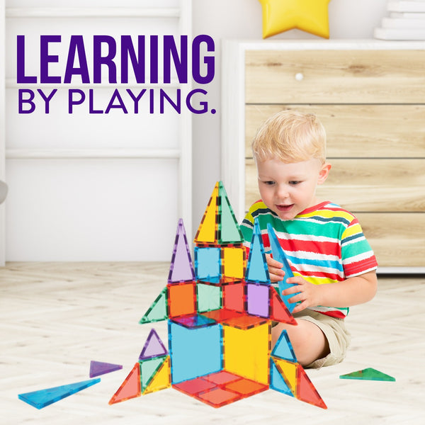 K-TILES® Kidsy® Magnetic Building Tiles For Kids (172 Pieces): Colorful Tiles With Strong Magnets, Educational Toys For Children, Creativity, Imagination, Cognitive Development and Motor Skills For Girls and Boys