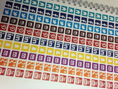 12 Sheets of Social Media Stickers