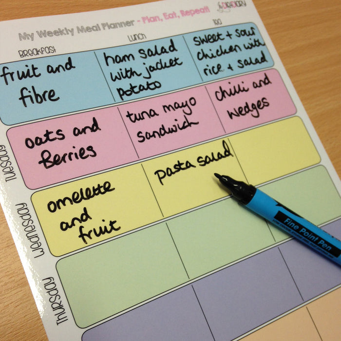Wipe clean Weekly Meal Planner, with pen!