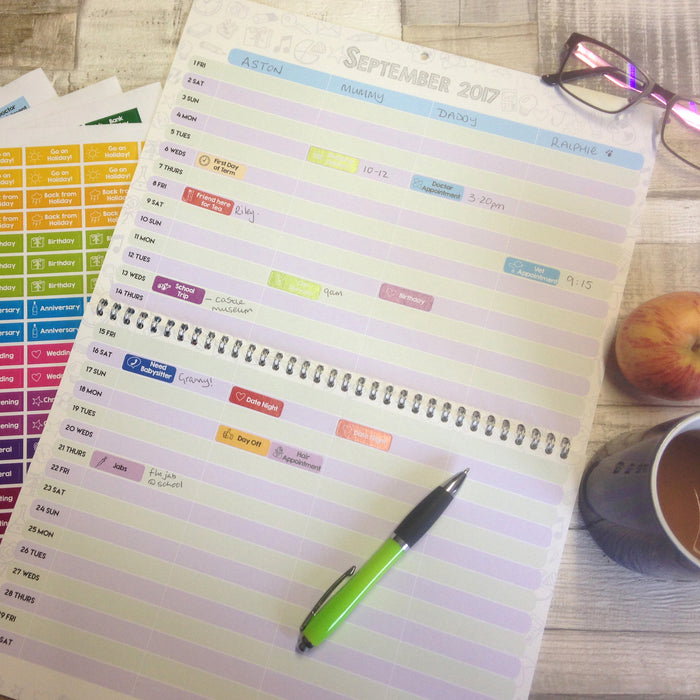 Busy Family Calendar - with stickers! (Jan-Dec 2021)