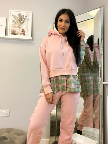 CHECK BACK HOODED SWEAT JOGGER SET PINK