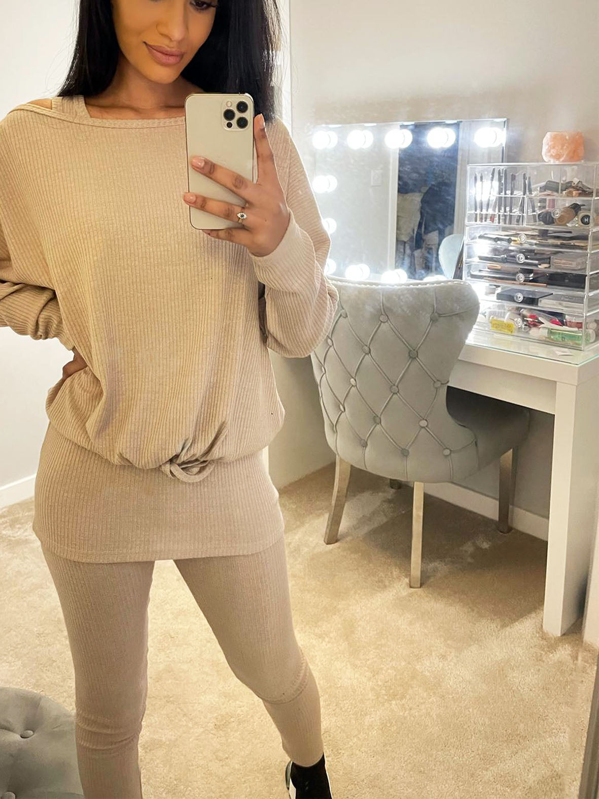 OFF THE SHOULDER LOUNGE SET CABLE KNIT VARIOUS COLOURS