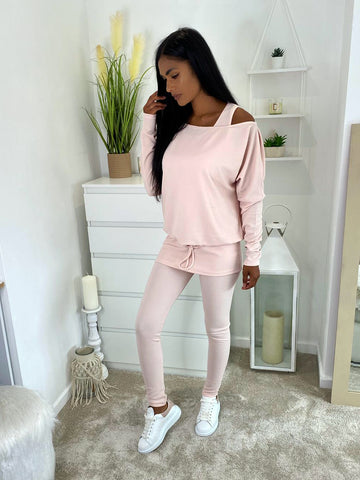*PRE-ORDER OFF THE SHOULDER LOUNGE 3 PC PINK