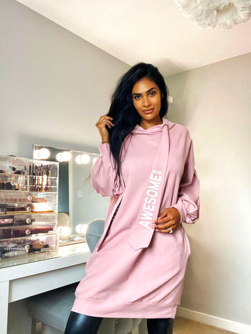 AWESOME HOODED JUMPER DRESS PINK