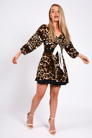 Leopard Print Skater Playsuit Brown