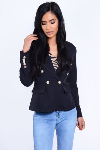 GOLD BUTTON BLAZER BLACK