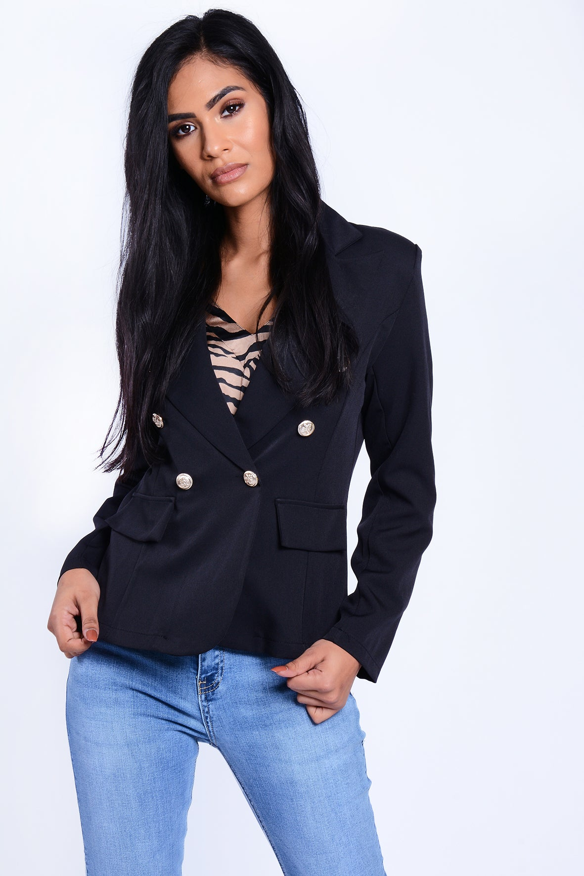 Gold Button Blazer Jacket Black
