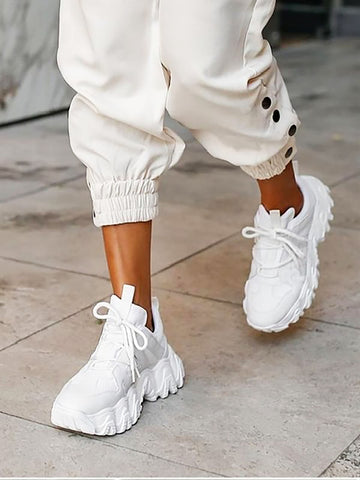 CHUNKY SOLE LACE UP TRAINER WHITE