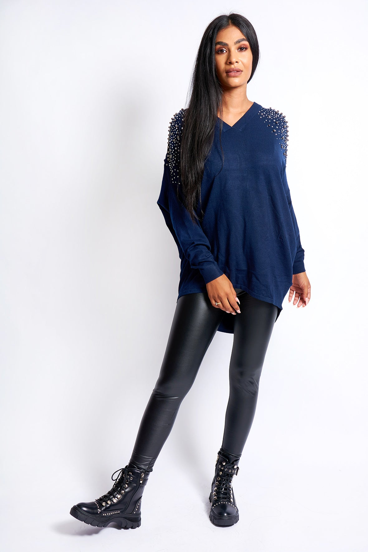 OVER SIZE COLD SHOULDER DIAMANTE DETAIL JUMPER VARIOUS COLOURS