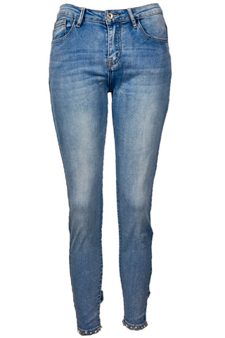HIGH RISE STRETCH FIT DIAMANTE BOW JEAN BLUE