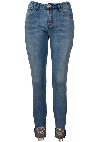 HIGH RISE STRETCH FIT DIAMANTE EYE JEAN BLUE