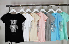 DIAMANTE TEDDY BEAR T-SHIRT VARIOUS COLOURS