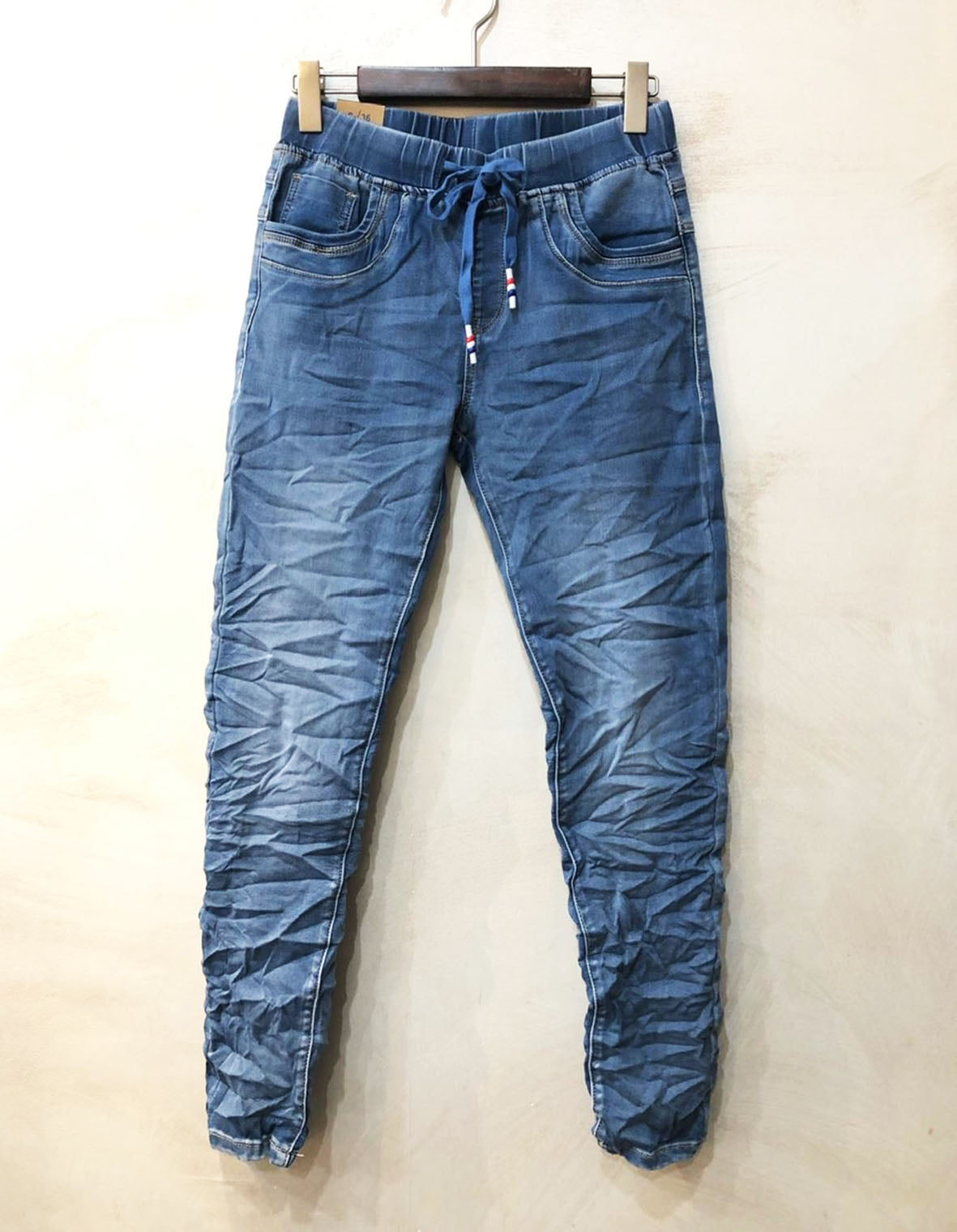 DISTRESSED JEAN JOGGER PLAIN WAISTBAND BLUE
