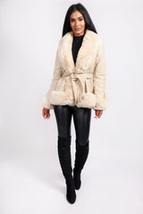 FAUX FUR BELTED SHORT COAT CREAM