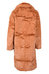 LONG FAUX FUR COAT CAMEL