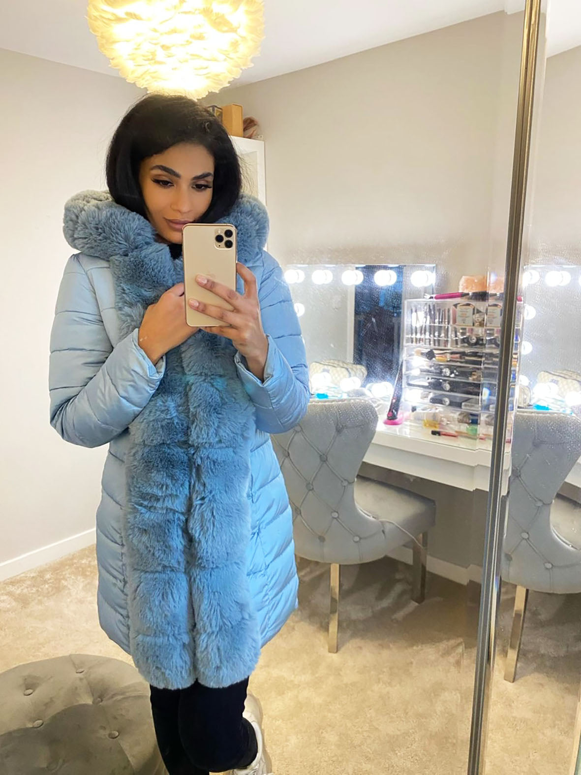 FAUX FUR FRONT PADDED PUFFA COAT BLUE