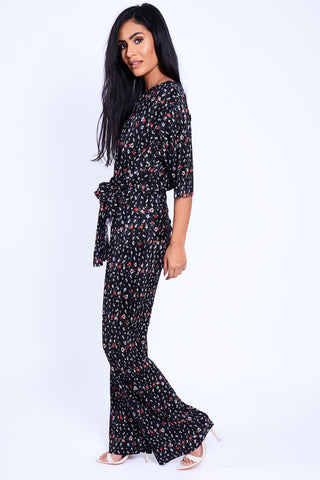 Tie Front Floral Lounge Set Black