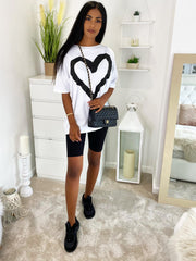 OVERSIZE HEART PRINT T-SHIRT VARIOUS COLOURS