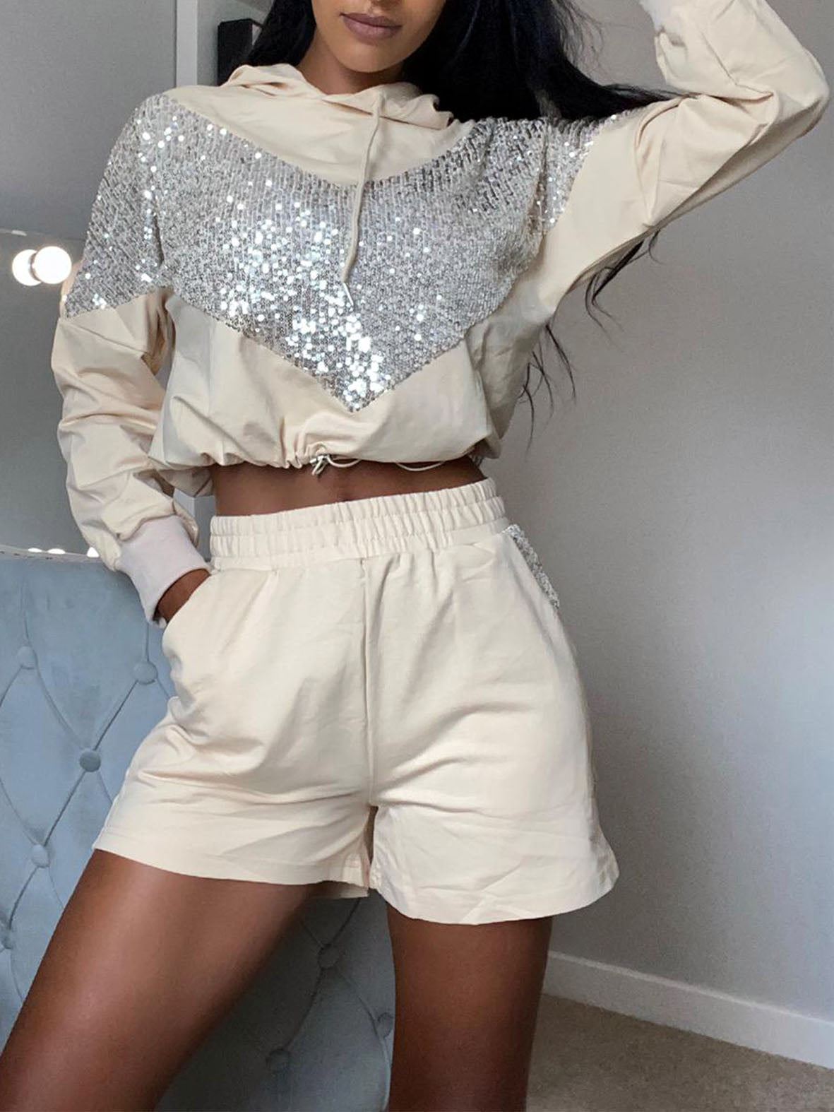 SEQUIN HOODED SHORT SET VARIOUS COLOURS