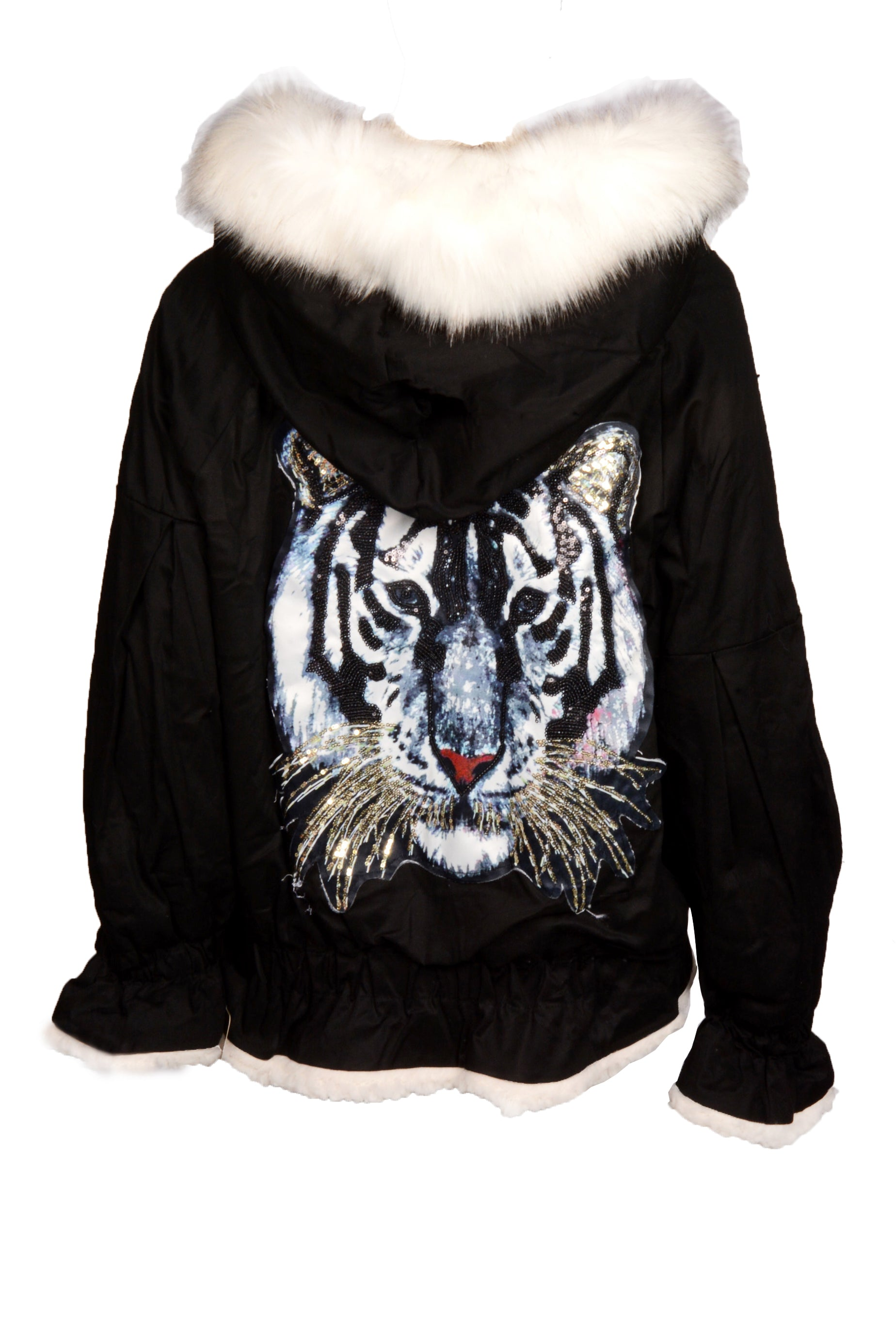 FUR HOOD FLEECE LINED TIGER JACKET WHITE