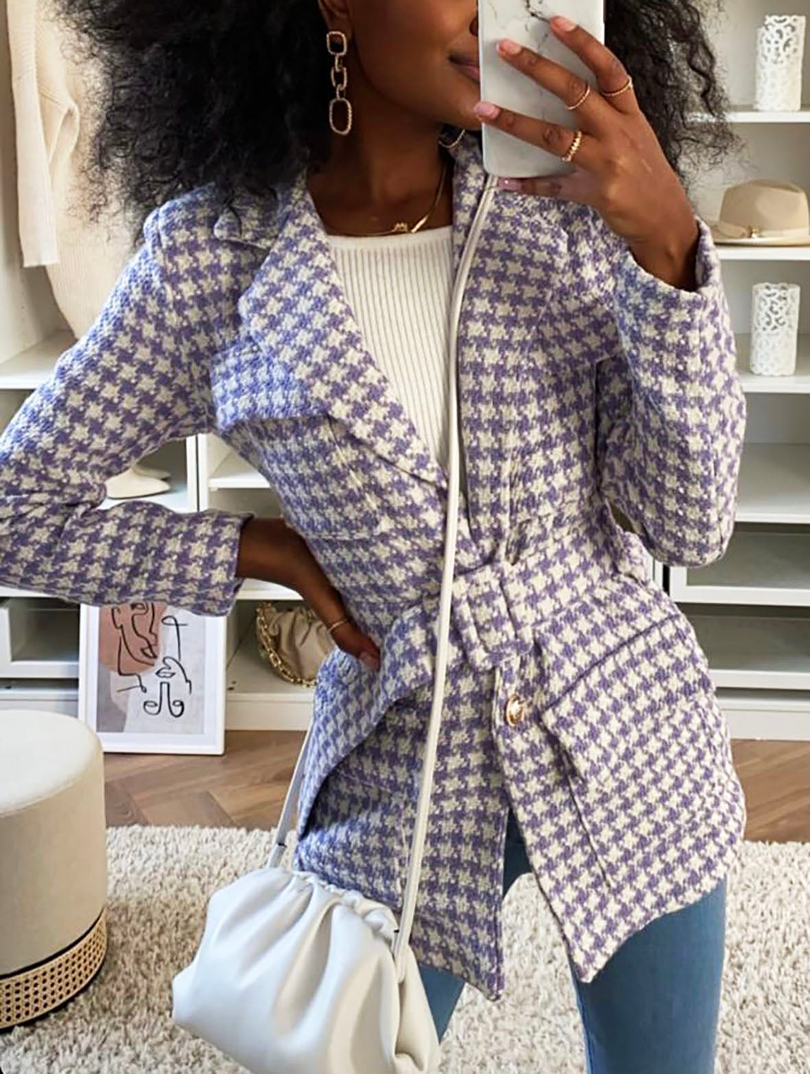 HOUNDSTOOTH BELTED BLAZER VARIOUS COLOURS