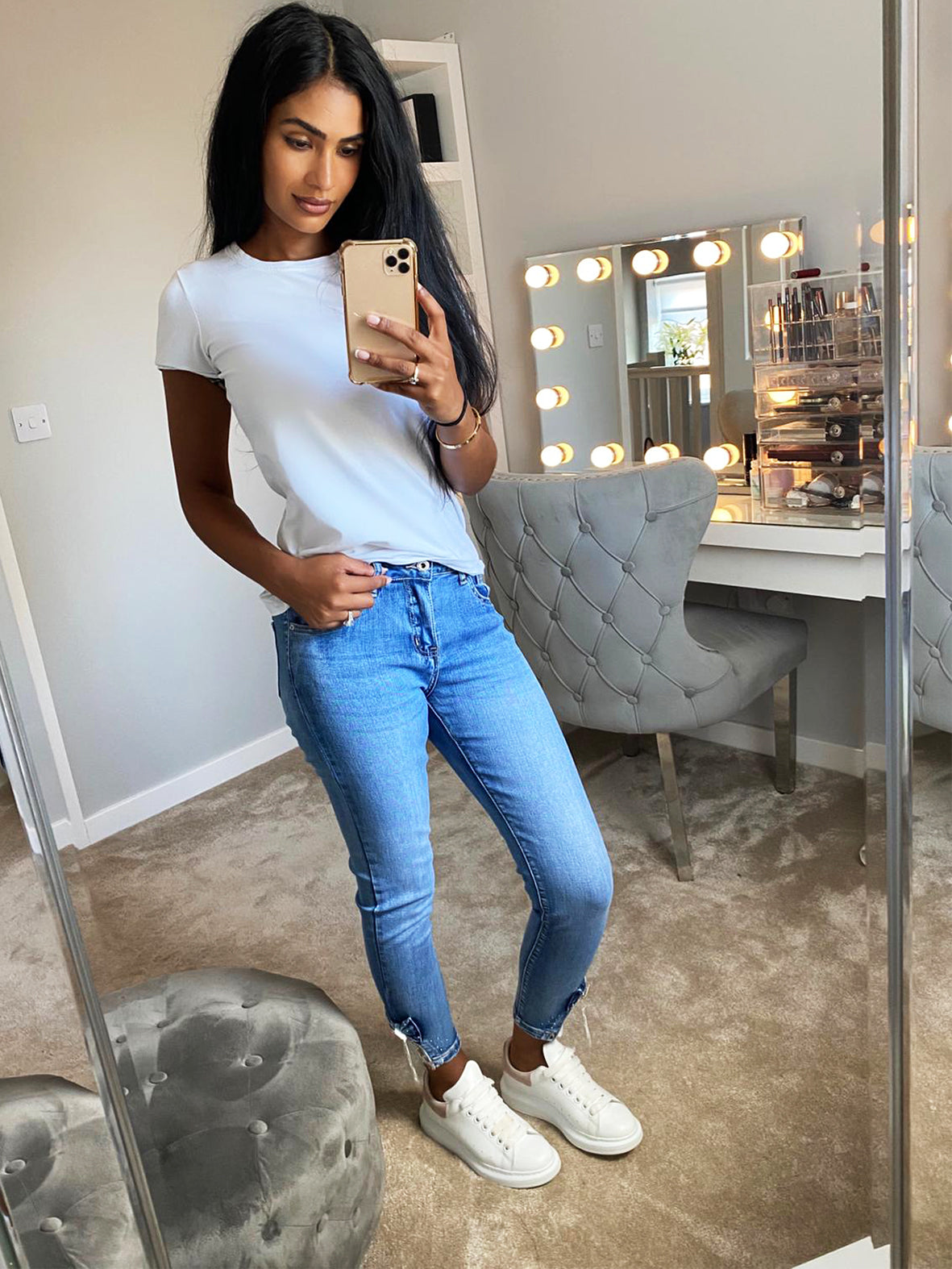 LACE ANKLE SKINNY FIT HIGH RISE JEAN BLUE