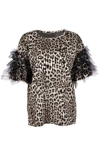 LEOPARD PRINT PUFF SHOULDER TOP BLACK