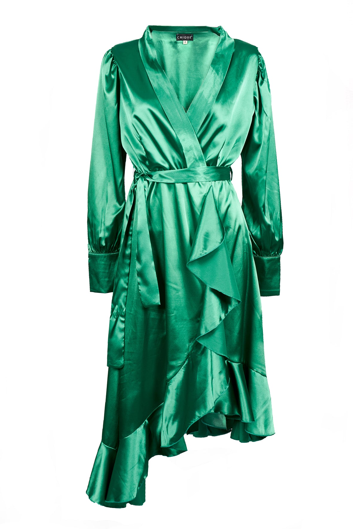 WRAP OVER RUFFLE DRESS GREEN