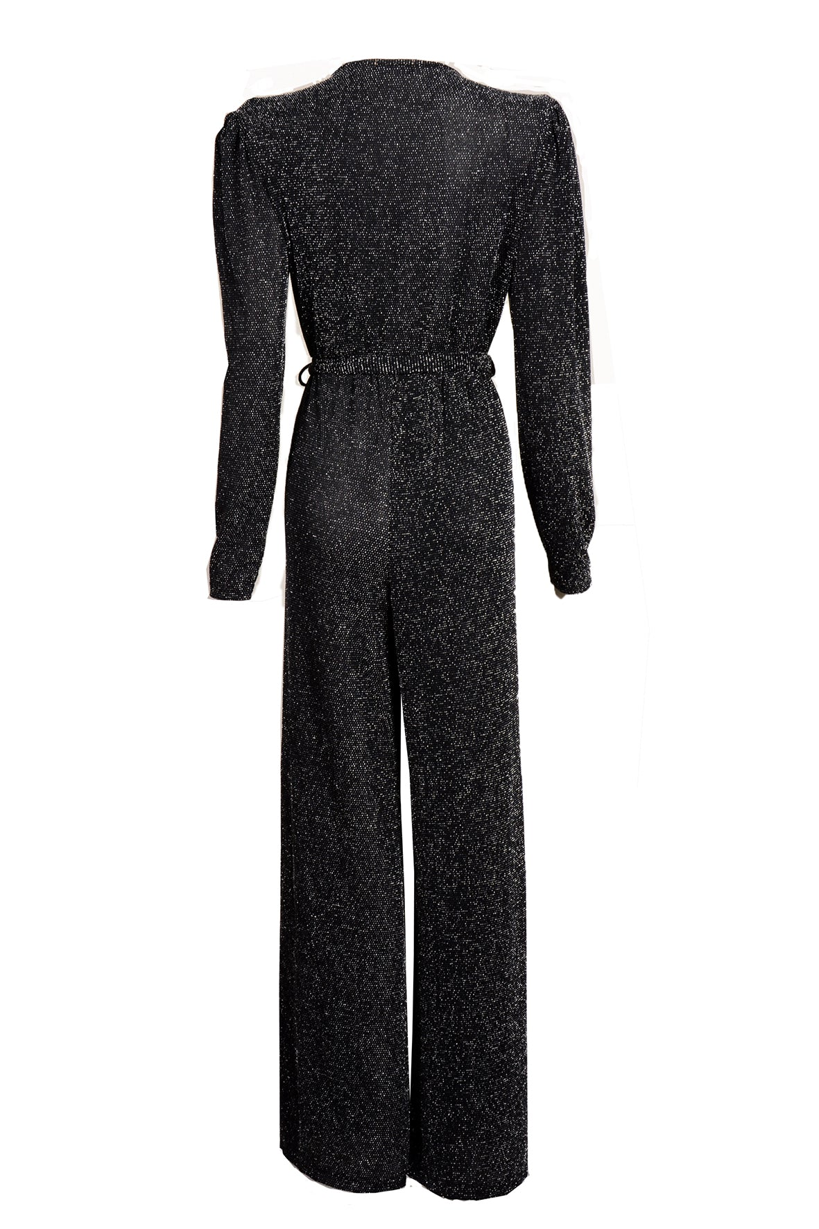 LUREX PUFF SHOULDER JUMPSUIT SILVER