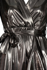 METALIC WRAP OVER DRESS SILVER