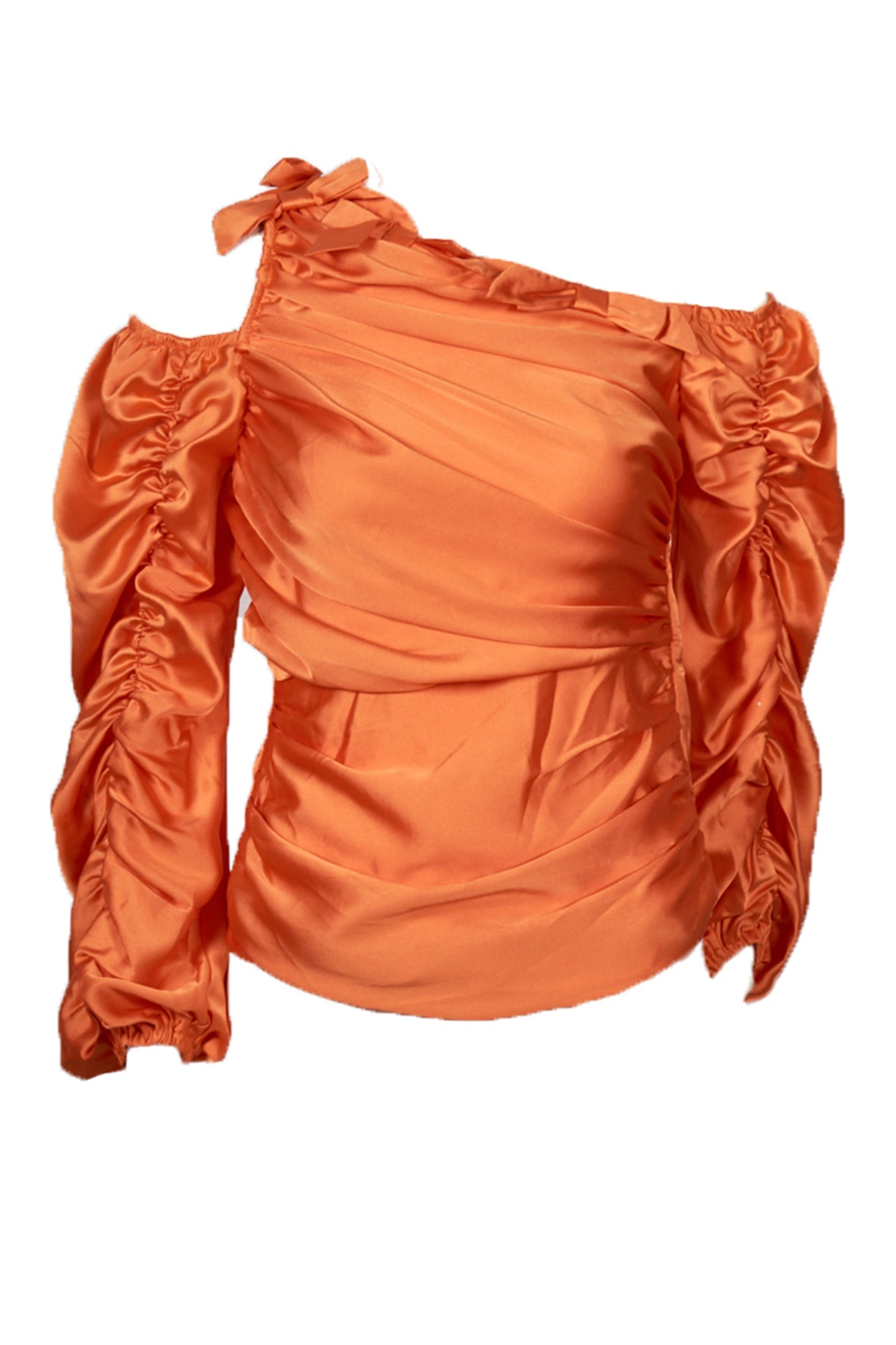 ONE SHOULDER RUCHED ARM TOP ORANGE