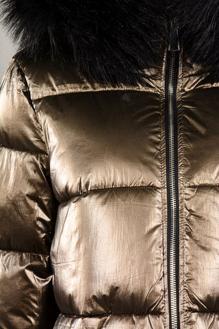 METALIC REVERSIBLE PUFFA JACKET BRONZE
