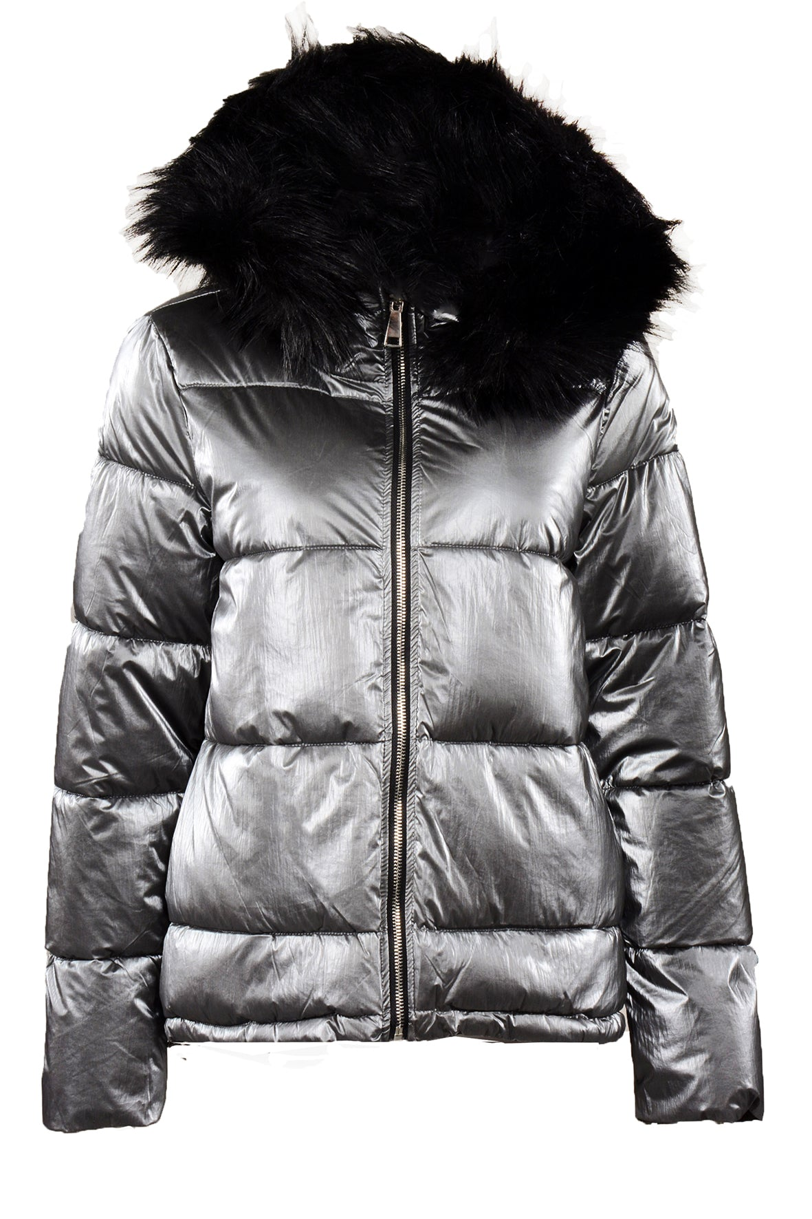 METALIC REVERSIBLE PUFFA JACKET SILVER
