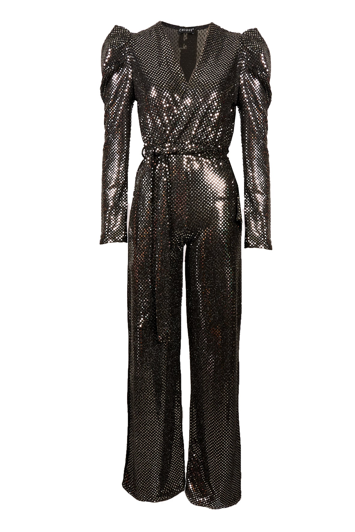 SEQUIN PUFF SHOULDER JUMPSUIT SILVER