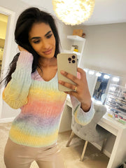 MULTI RAINBOW LOW NECK JUMPER PINK